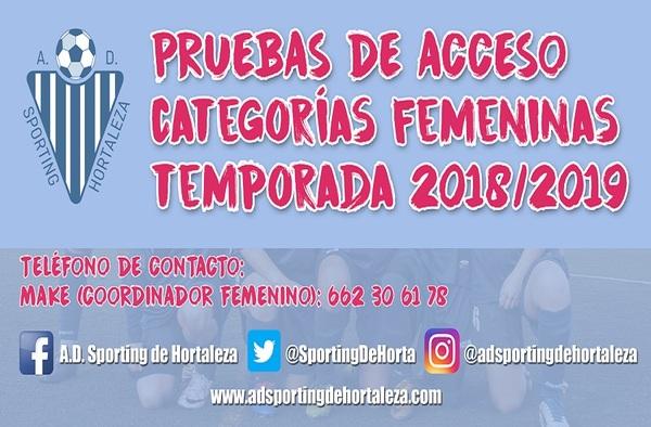 A.D. Sporting Hortaleza, pruebas de Acceso categoría Femenina - Temporada 2018/19