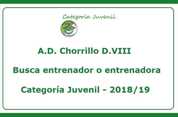 """El Juvenil """"A"""" del A.D. Chorrillo D.VIII busca entrenador para la temporada 2018/19"""