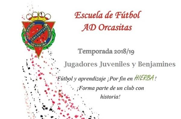 A.D. Orcasitas, busca jugadores Juveniles y Benjamines - Se entrena y juega en hierba artificial - Temporada 2018/19