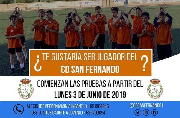 Pruebas en el C.D. San Fernando a partir del lunes 3 de Junio de 2019