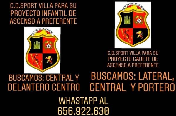 Sport Villa de Vallecas precisa jugadores en posiciones concretas tanto en categoría Infantil como Cadete - Temporada 2019/20
