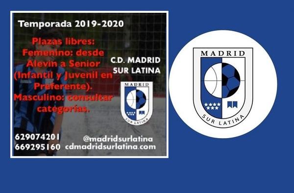 Plazas libres en el C.D. Madrid Sur Latina - Temporada 2019-2020