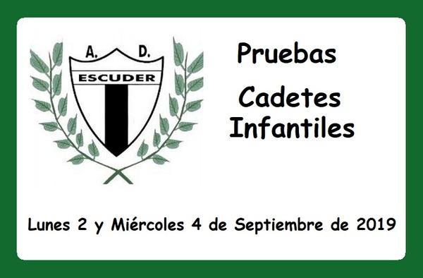 Pruebas para Cadetes e Infantiles en la A.D. Escuder San Pascual - Temporada 2019/2020