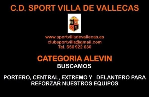 Sport Villa de Vallecas precisa jugadores en distintas posiciones para categoría Alevín - Temporada 2019/20