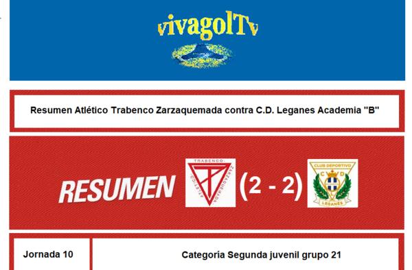 """Crónica y vídeo: Empate a dos entre Atlético Trabenco Zarzaquemada y C.D. Leganes Academia """"B"""" (Jornada 10. Temporada 2019/20)"""