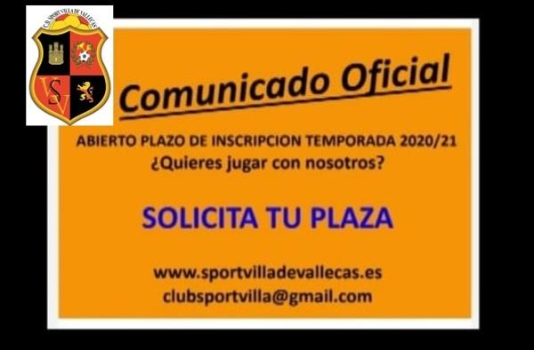 El C.D. Sport Villa de Vallecas abre el periodo de inscripción para la temporada 2020/21