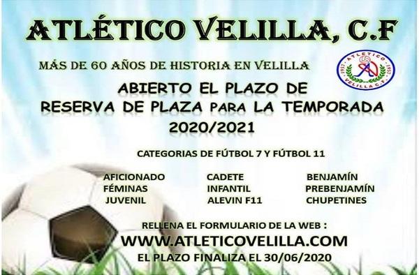 El Atlético Velilla CF abre el plazo de reserva de plaza para la temporada 2020/21