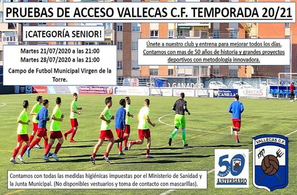 Pruebas de Acceso en el Vallecas CF (Juveniles y Sénior) - 21 y 28 de Julio de 2020