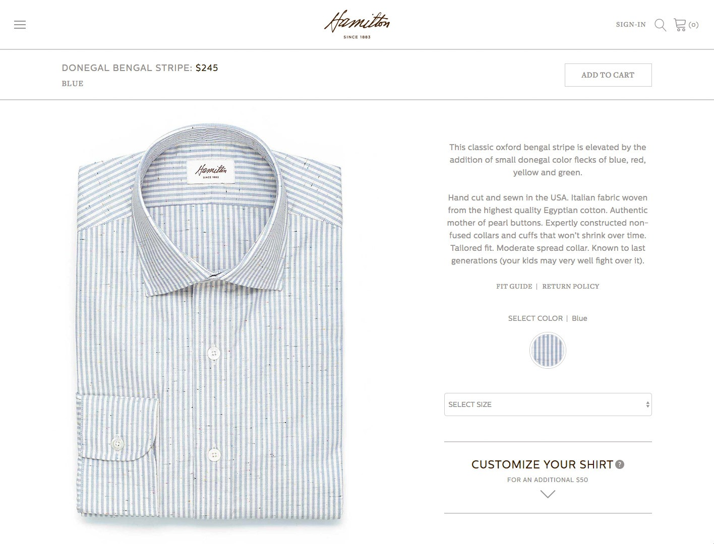 Web Design for Houston Shirtmaker