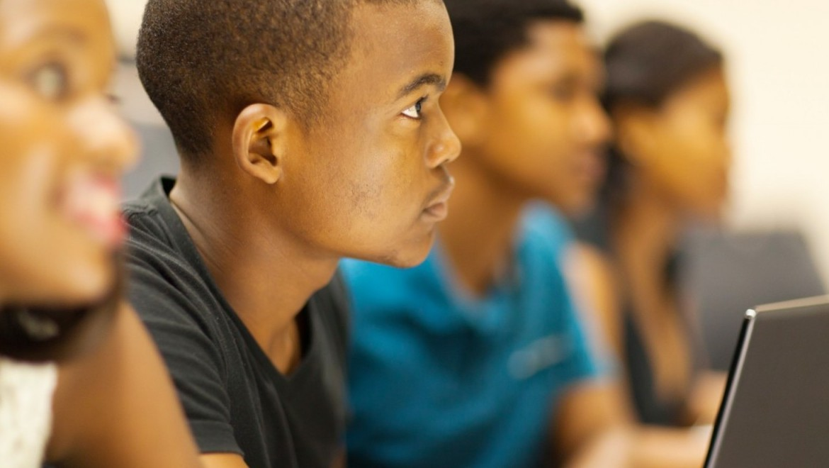 African american boy in classroom