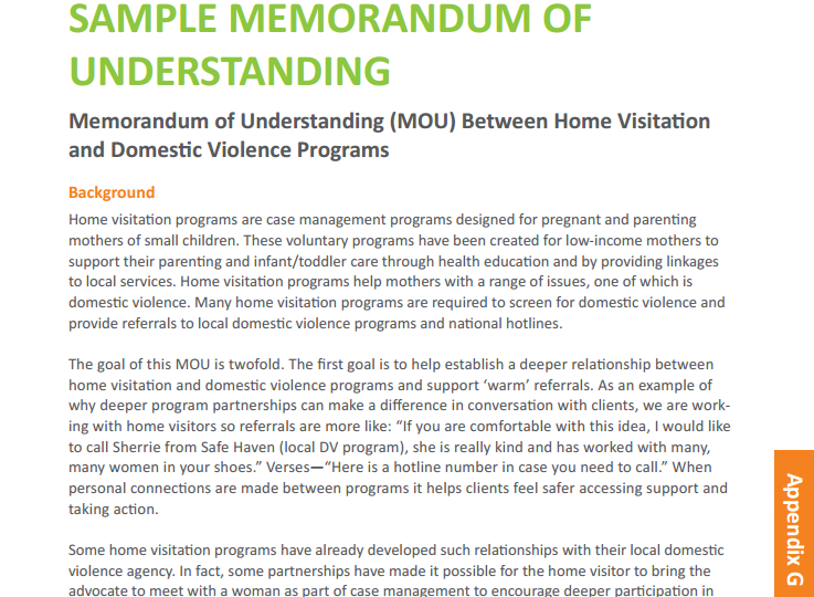 Sample Memorandum of Understanding (MOU) Between Home Visitation ...