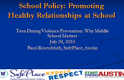 Promoting Healthy Relationships At School Teen Dating Violence Prevention Why Middle School Matters Futures Without Violence Futures Without Violence