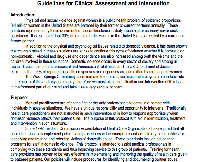 Sample Guidelines for Clinical Assessment and Intervention – Sample Assessment