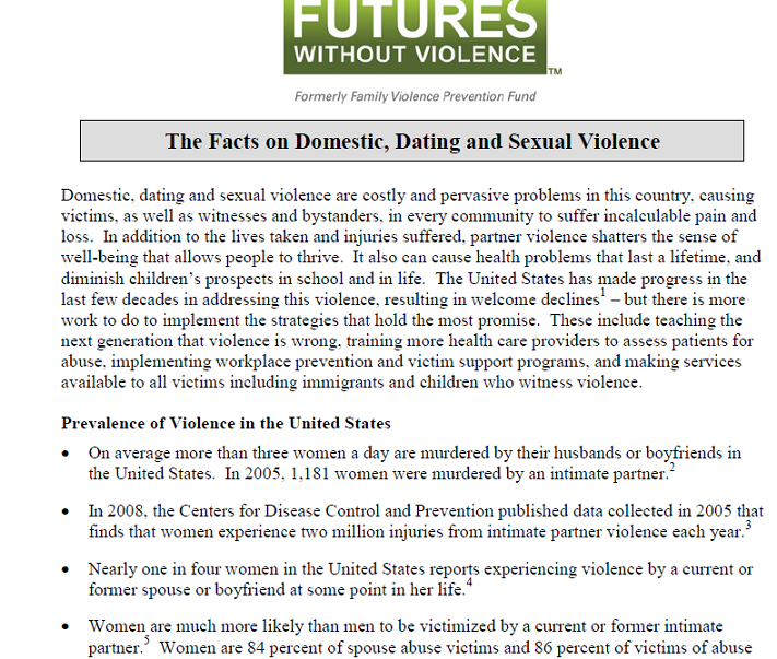 the facts on domestic dating and sexual violence futures  cover