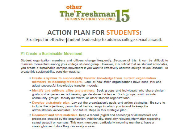 Action Plan for Students Preventing College Sexual Assault – Student Action Plan Template
