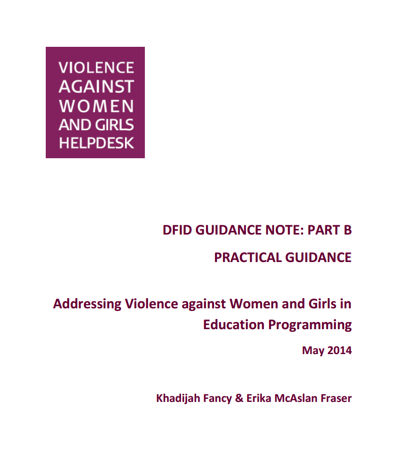 Thumbnail image of report called Addressing Violence Against Women and Girls in Education Programming: Part B