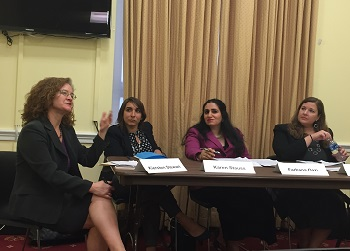 FUTURES' Kiersten Stewart speaking at the congressional briefing on GBV in humanitarian settings