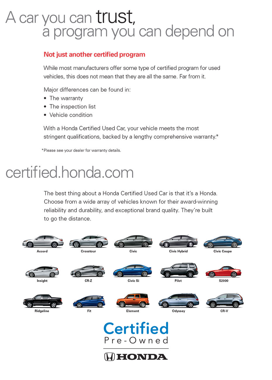 Honda certified pre owned program details honda of for Honda used certified