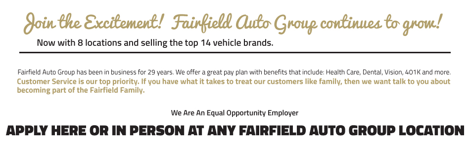 Join the Excitement Fairfield Honda Employment opportunity
