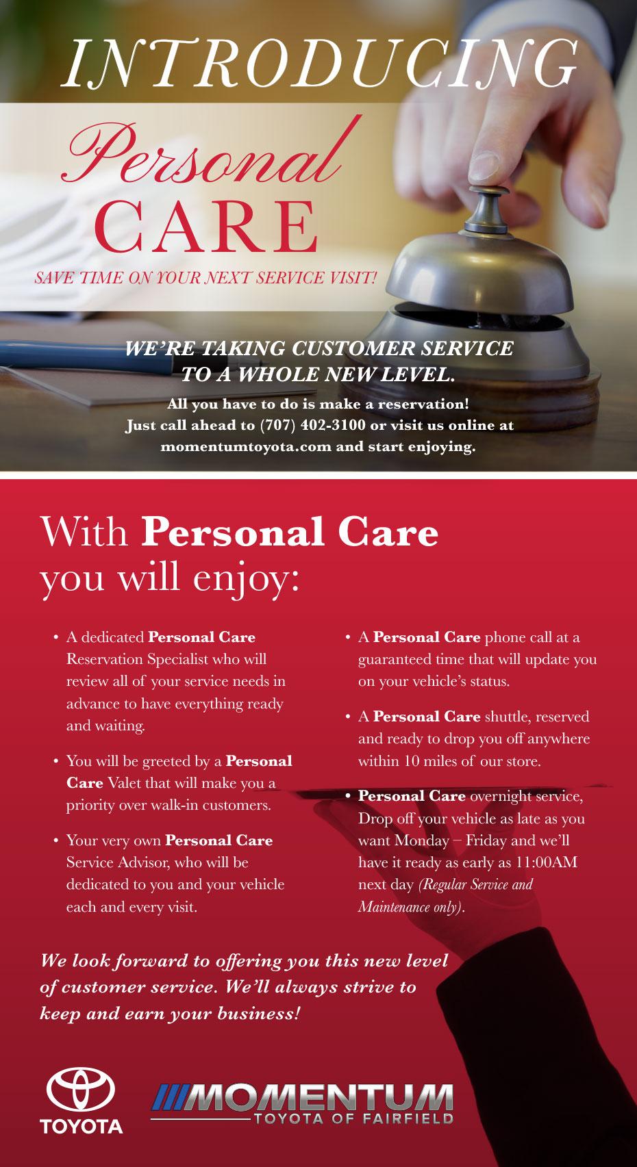 Personal care service momentum toyota dealership