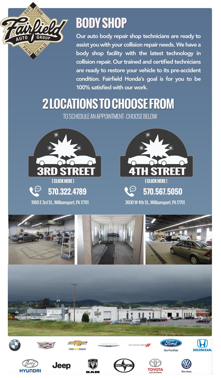 Fairfield Honda Body shop information assistance locations