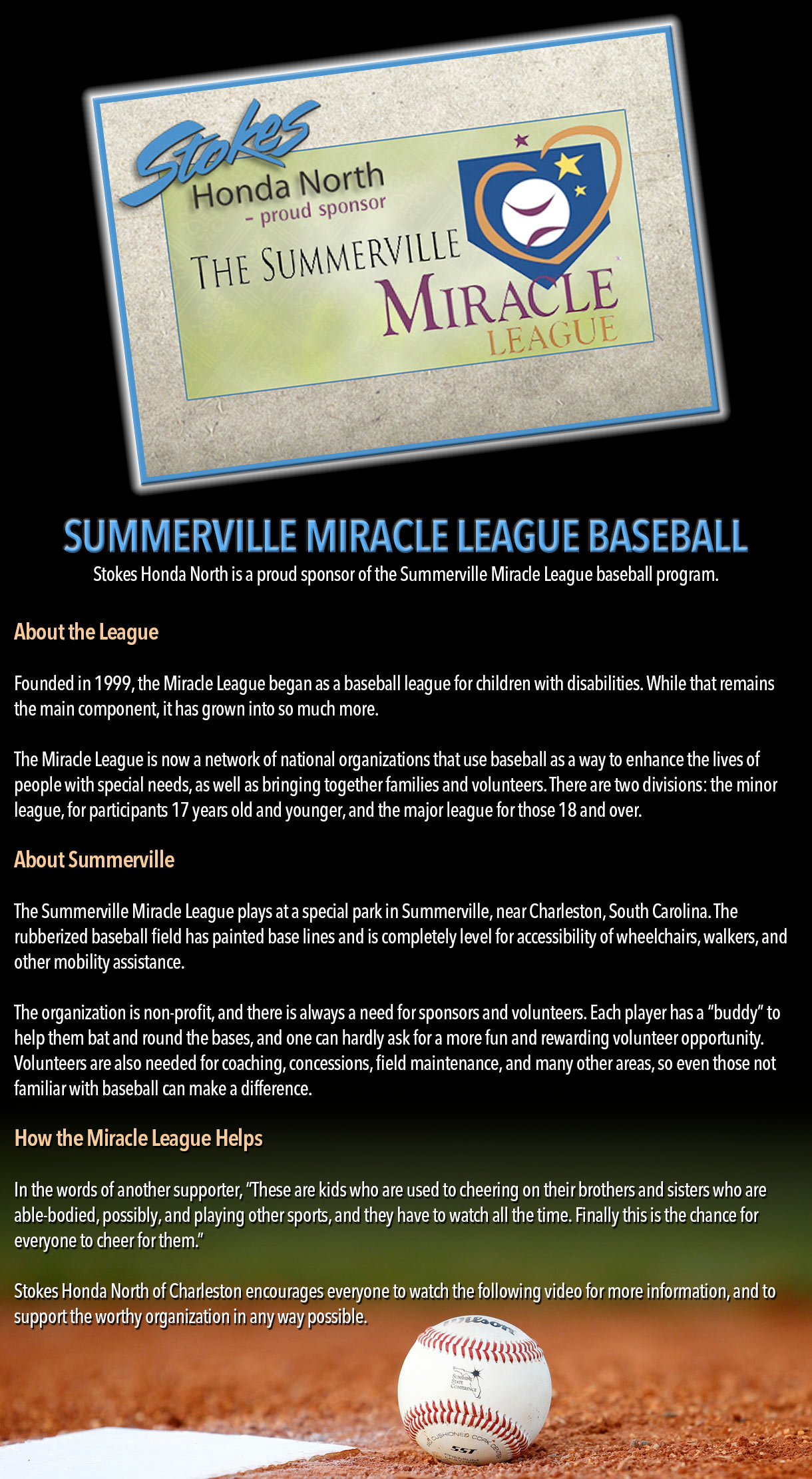 Summerville Miracle League Baseball