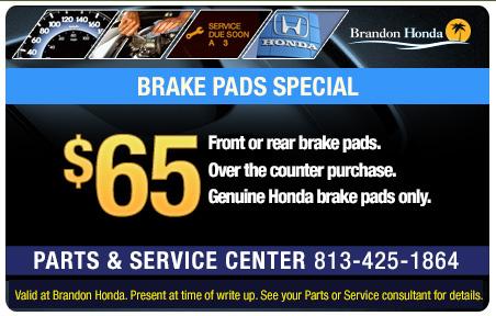 Honda service coupons parts near tampa brandon for Honda brake service coupons