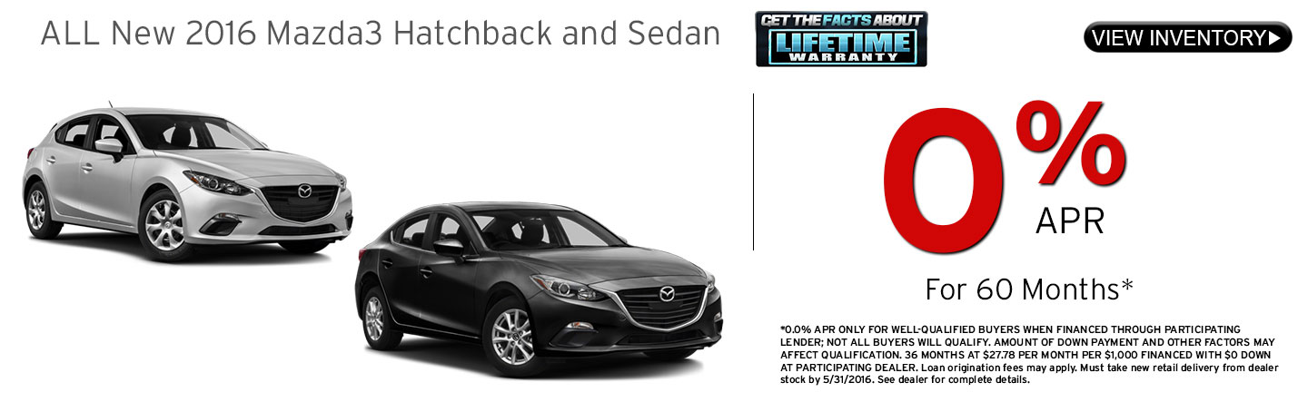 Mazda3 Hatchback and Sedan 0% APR