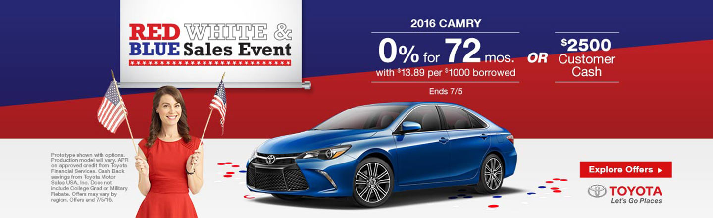 """NYR – Required Campaign – """"July 4th Camry Offers"""""""