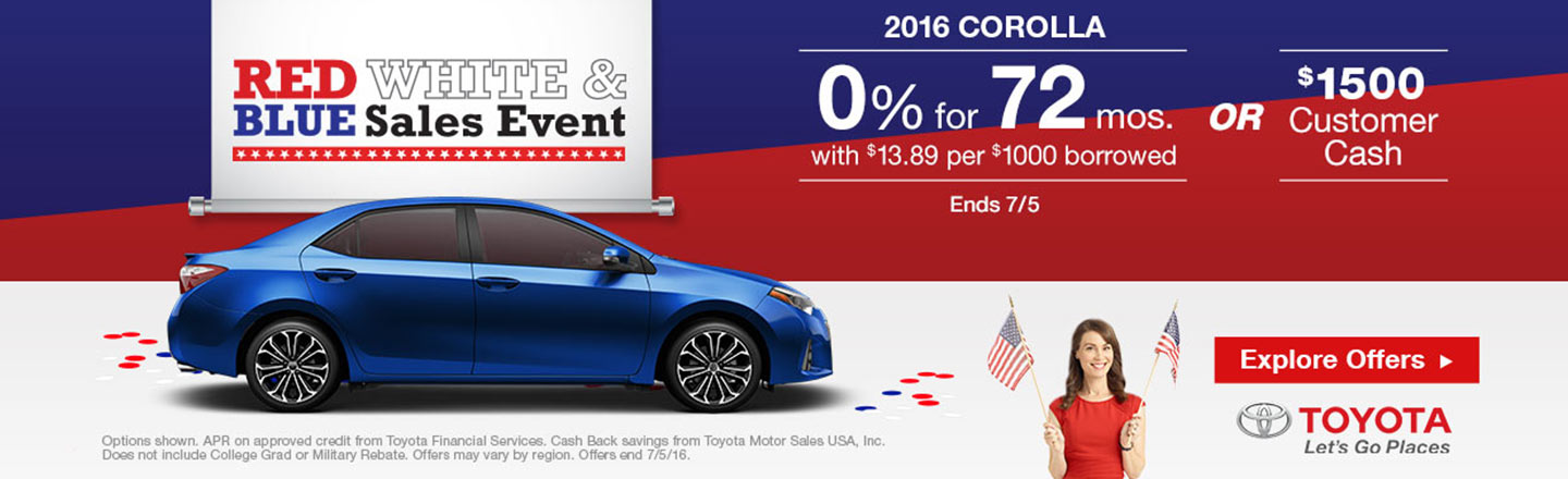 """NYR – Required Campaign – """"July 4th Corolla Offers"""""""