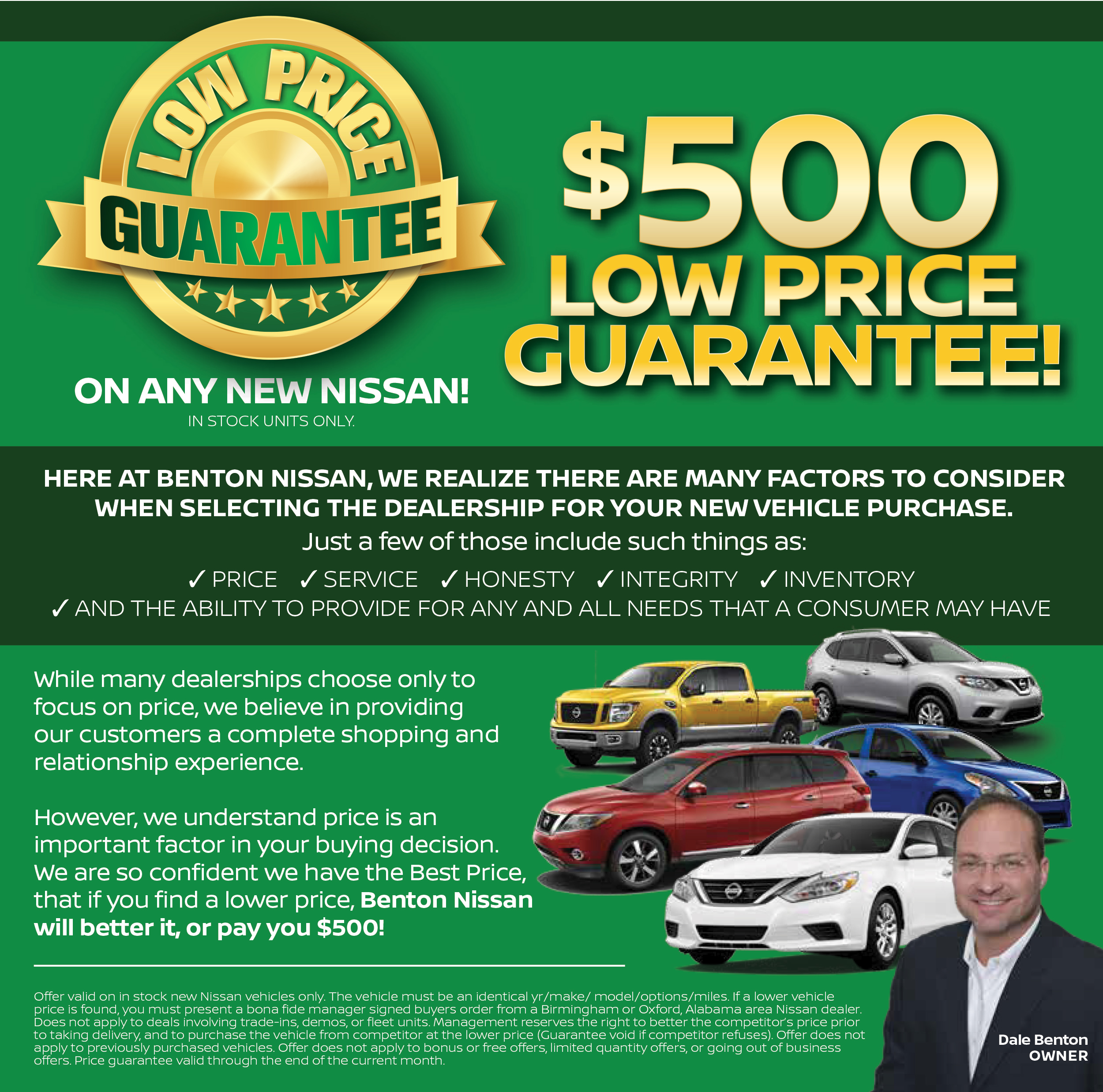Benton Nissan Hoover >> Low Price Guarantee for Nissan   Benton of Hoover, AL