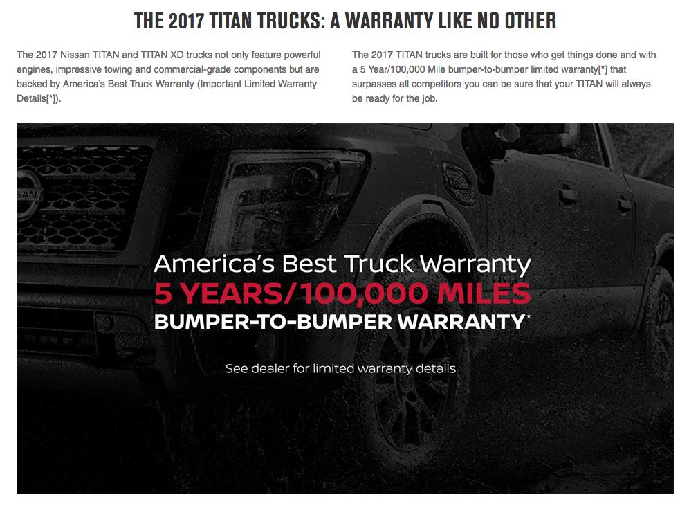 ... Covered For Wardu0027s 2016 Large Pickup Segmentation And Small Pickup  Segmentation V. 2017 TITAN And TITAN XD. Nissanu0027s New Vehicle Limited  Warranty ...