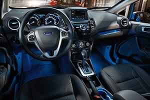 black interior blue light of 2016 ford fiesta