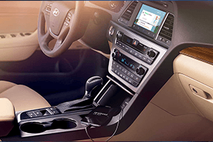 brown and dark gray interior of 2016 hyundai sonata hybrid