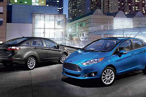 city blue and black 2017 ford fiestas