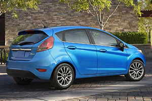 back of blue 2017 ford fiesta