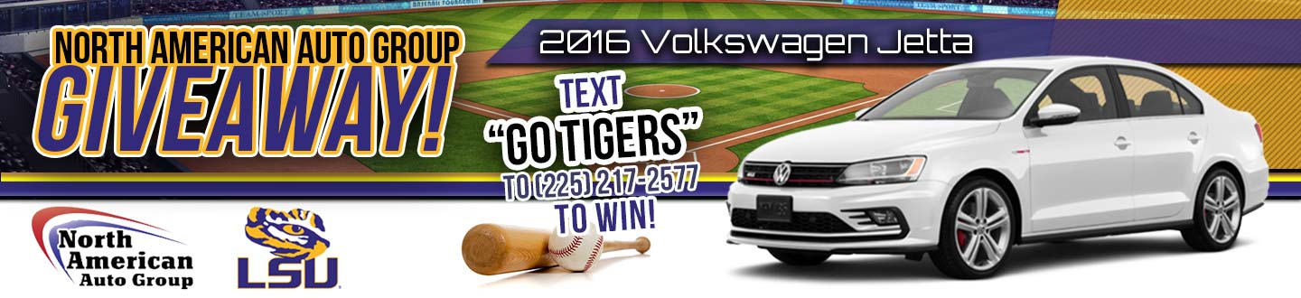 North American Auto Group, 2016 Volkswagen Jetta, white, on baseball field