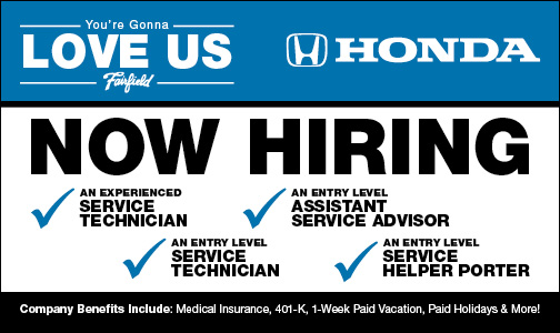 Now Hiring Employment Opportunity Fairfield Honda