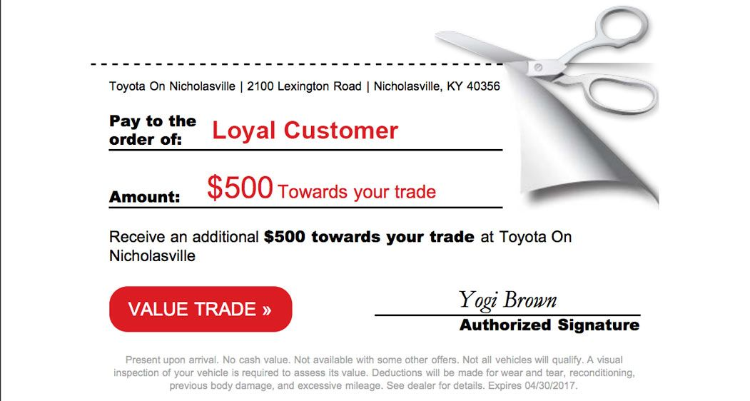 """Check"" graphic for $500 for Toyota of Nicholasville"