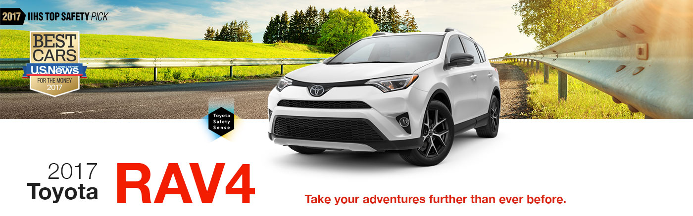 2017 White Exterior Rav4 On Road at Stevinson Toyota West