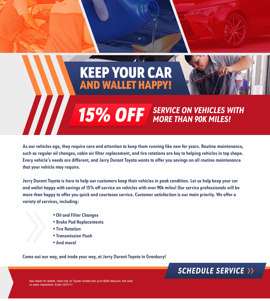 90K service offer - Jerry Durant Toyota Dealership In Granbury, TX