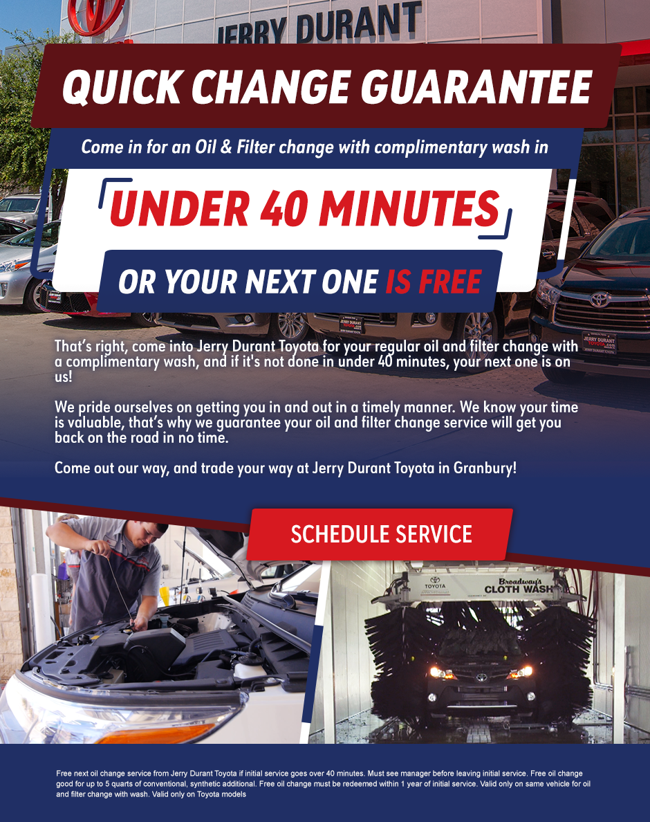 oil change guarantee - jerry durant toyota Granbury, TX