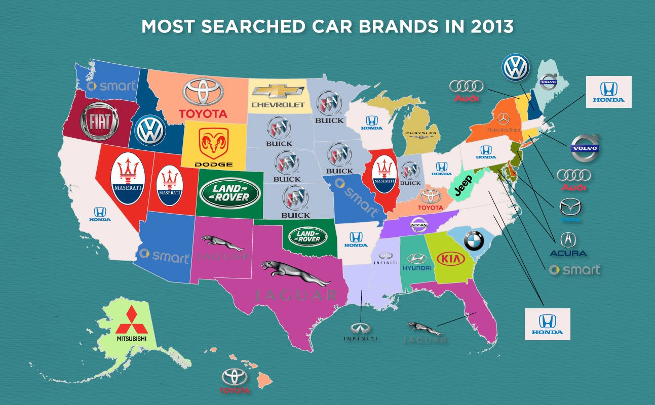Most Searched Car Brands in 2013