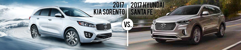 Kia of Augusta, White 2017 Kia Sorento vs. gold Hyundai Santa Fe