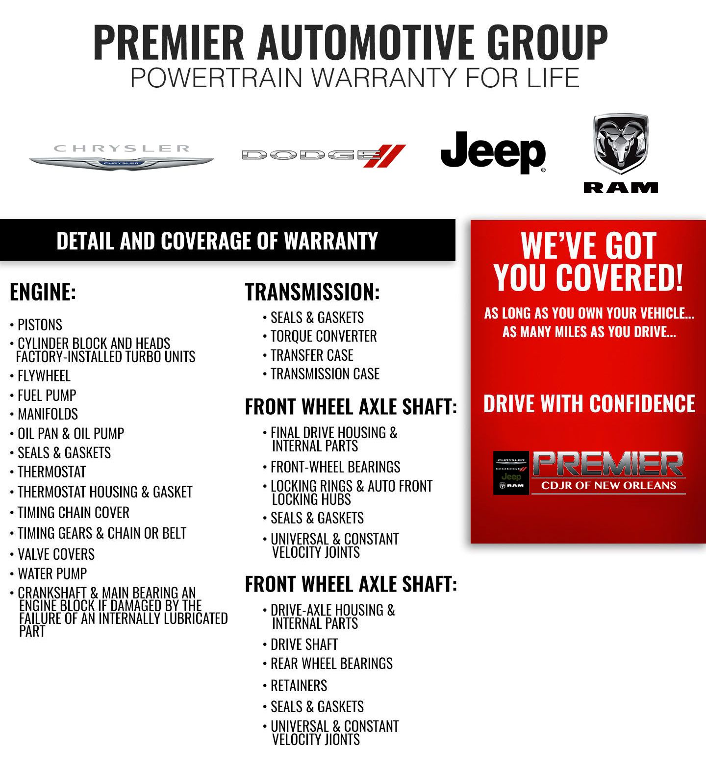 Premier CDJR, Powertrain Warranty for Life