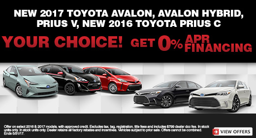 Your Choice, 2017 Avalon & Prius Models
