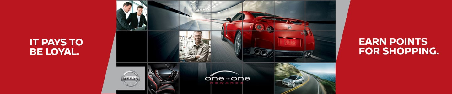 one to one rewards at baker nissan dealership blue leaf red gtr silver maxima