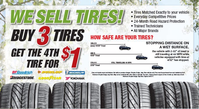 Buy 3 Tires Special at Scott Robinson CDJR