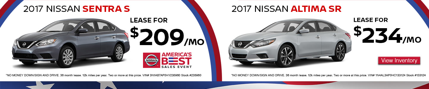Lease a Sentra or Altima America's Best Sales Event at Hudson Nissan in North Charleston, SC