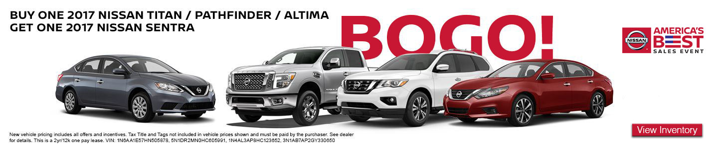But One Get One America's Best Sales Event at Hudson Nissan in North Charleston, SC